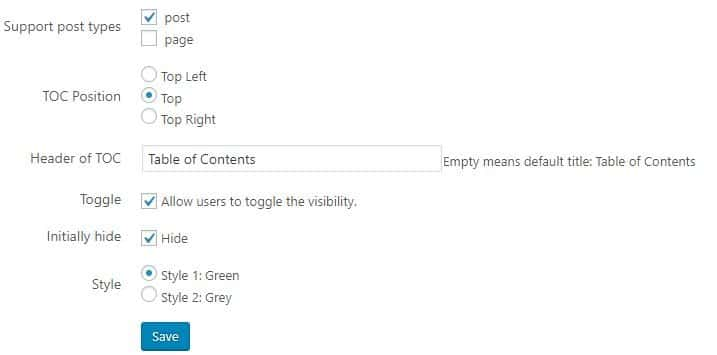 страница настроек Table of Contents Generate Easily