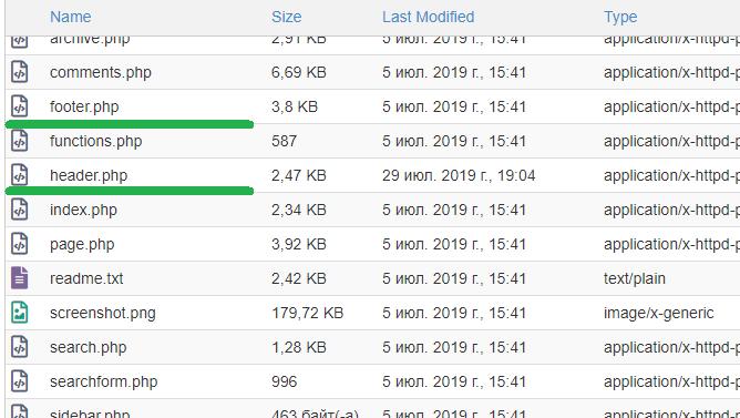 Файлы footer.php и header.php на хостинге