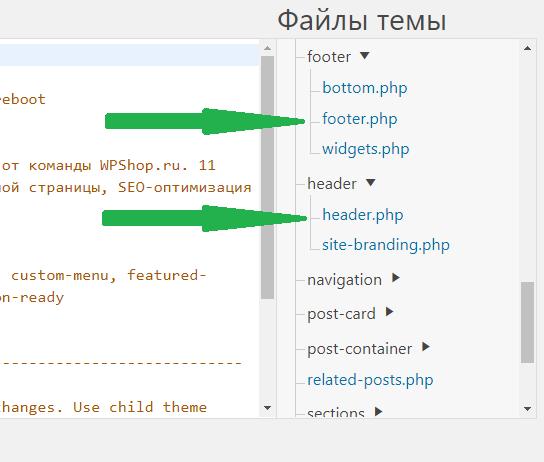 Файлы footer.php и header.php в редакторе тем вордпресс